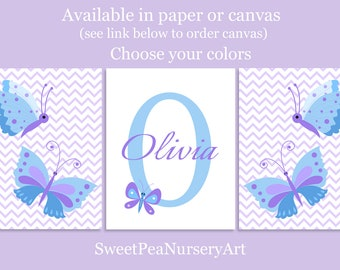 Butterfly Prints, Butterfly Nursery, Baby Girl Nursery, Nursery Art, Blue and Purple, Monogram Nursery, Baby Name Print, Butterfly Canvas