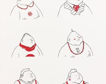 "Screen Print ""Big Bois"" Red Black and White Line Drawing Screenprint"