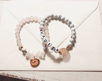 Name set-beaded bracelets with letter beads, mandala and rosé gold pendant-consisting of two bracelets