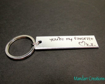 You're My Favorite, Fully Personalized Keychain with Custom Initials, Anniversary Gift, Best Friends