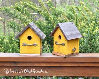 Yellow Rustic Birdhouse ~ The Cabin - Unique Birdhouse - Wooden Birdhouse - Outdoor Birdhouse - Bird House - Painted Birdhouse - Birdhouses