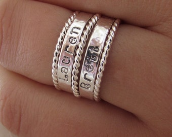 Mothers Day Gift Sale Personalized Sterling Silver Name Stacker  Set Custom Hand Stamped Mommy Rings TWO Name Rings and THREE Twist Stackers