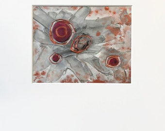 Abstract Plaster Painting in Dark Metallic Silver, Copper and Magenta Pink with Acid-Free White Mat - Original Acrylic Art on Panel with Mat