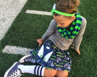 Seattle Seahawks Skirt Sizes 0-3-6 6-12 12-18 18-24 2T 3T 4T 5T 6 7 8 9 10 12 ~Two Chicks~ GO HAWKS