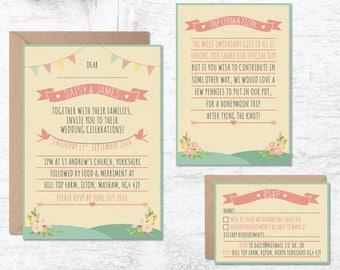 Rustic Wedding Invitation Template, Wedding Invitation Printable, Festival Wedding, Bunting Wedding, Floral Invite, Boho, Vintage Wedding