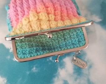 Kisslock coin purse, crochet, handmade