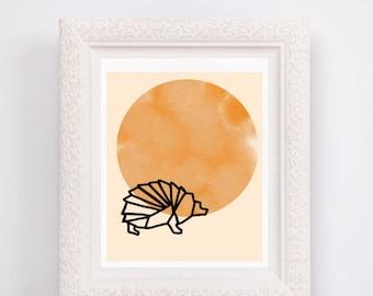 Geometric Hedgehog; Galaxy Background; Instant Digital Download; Printable Art; Home Decor; Nursery Decor