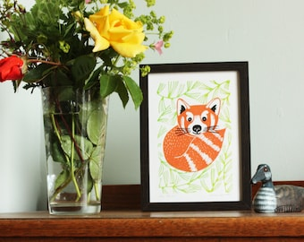 Red Panda, original linocut print, Kat Lendacka, Signed Open Edition, Free Postage in UK, Hand Pulled, block print, Printmaking, Linoprint
