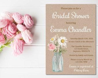 Floral Mason Jar Bridal Shower Invitation, Printable Floral Rose Daisy Kraft Invite, Floral Rustic Bridal Shower, DIY Kraft, Download, 101-B