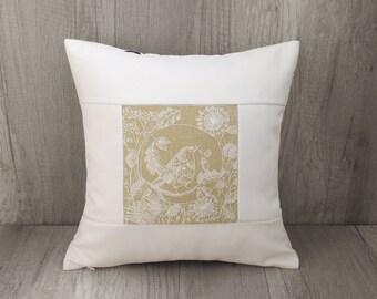 Tit decorative pillow White embroidery cushion cover Great crested tit bird decor Dorm room decor 16 x 16 inch  (40 x 40) ~ european sham