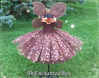 AUTUMN FALL FAIRY Princess Gown for Girls, Dressup Dress & Flower Girl for Disney Theme Wedding Tutu Costume Tinker Bell, Chocolate Brown