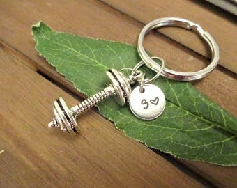 3D DUMBBELL KEYCHAIN w initial charm - large barbell exercise weights - choose keyring, clasp or heart keyring