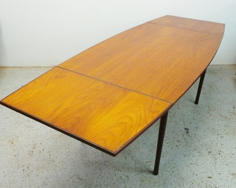 FREE SHIPPING mid century Danish modern teak and rosewood expanding slide leaf curved dining table