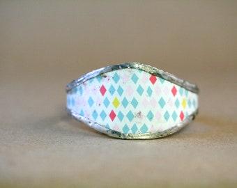 Fat Tin Cuff (Diamond pattern)