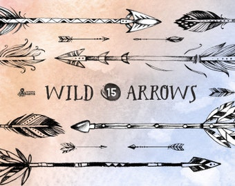 Wild Arrows. 15 hand drawn Clipart. Tribal, native diy elements, logo, invitation, pencil, transparent, digital png, hires, boho style