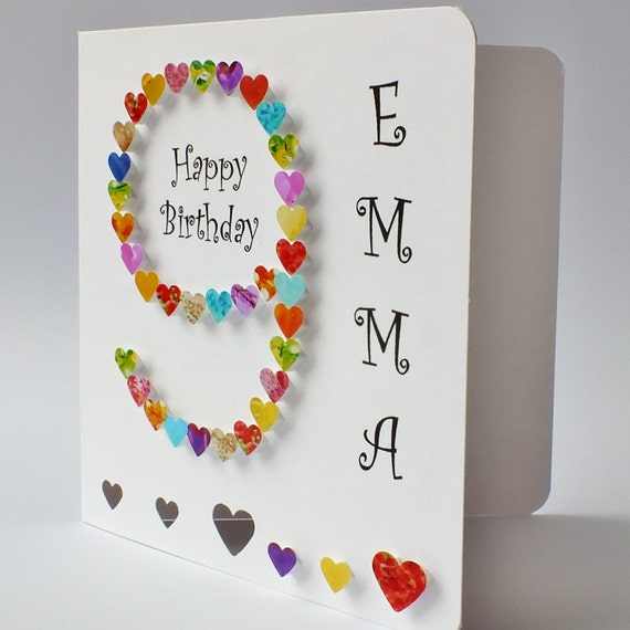 Personalised 9th Birthday Card Handmade Age 9 Card Hand