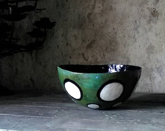 Patina Green Rustic Papier Mache bowl with black and white dots