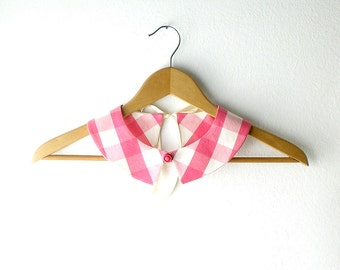 PeterPan Collar  Detachable Checked Fuchsia White