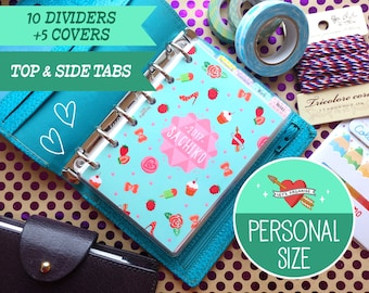 Personal Size Pop Party Dividers (Top & Side tabs) Filofax Personal, Louis Vuitton, Kikki.K 5 covers Printable PDF Instant Download