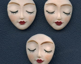 Angel  Faces Detailed   Lot of 3 Polymer undrilled cabs FAC 3