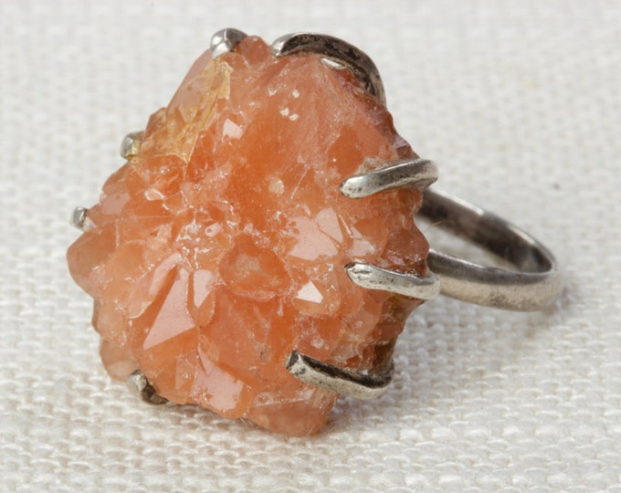 Crystal Ring Size 5 US Womens Peach Colored Faceted Stone Vintage Silver Tone Metal Ring Chunky Stone 7RI