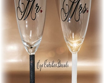 Mr. And Mrs. Glasses, Glitter stems, Mrs. and Mrs., Mr. and Mr.