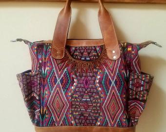 CUSTOM *Boho* All Huipil Convertible Day Bag~Leather and Huipil Bag~Diaper Bag~Leather Handbag~Overnight Bag~Tote~Guatemala Bag~Huipil Bag