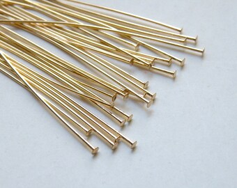"""100 Head pins shiny gold 2"""" or 5cm 22 gauge A5406FN"""