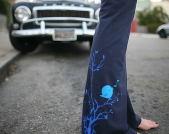 Women's yoga Pants stretch cotton -- songbird- available in S, M, L, XL, XXL- Custom Length-Navy and Black-Worldwide Shipping