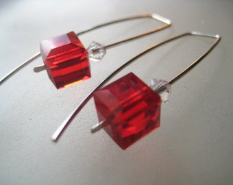 Choose from Red, Fuchsia, Green Aquamarine and Clear Swarovski faceted cube crystal earrings. Modern, Contemporary,
