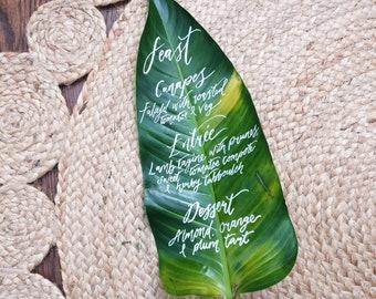 Custom Leaf Calligraphy Menu - Unique Wedding Stationery