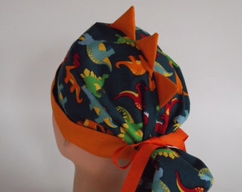 Dino Dynamite Ponytail - Womens lined surgical scrub cap, scrub hat, Nurse surgical hat, 41-112/f-4900 W