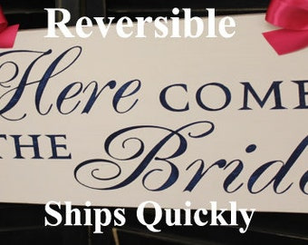 Here Comes the BRIDE Sign/Reversible Option/Photo Prop/Great Shower Gift/Navy/Wood Sign/Wedding Sign/U Choose Color/fast Shipping