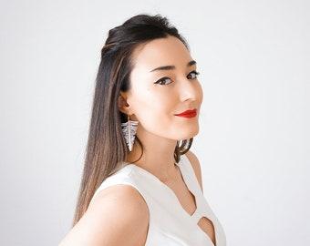 Triangle Earrings Modern Earrings Geometrical Earrings Statement Earrings Gold Earrings Lace Earrings Gold Earrings Inspirational/ ORIA
