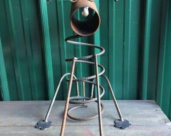 Rustic Metal Dog Sculpture Re purposed and Recycled Metal Art