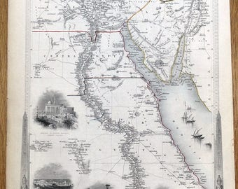 EGYPT and ARABIA PETRAEA, Rapkin & Tallis antique map 1851
