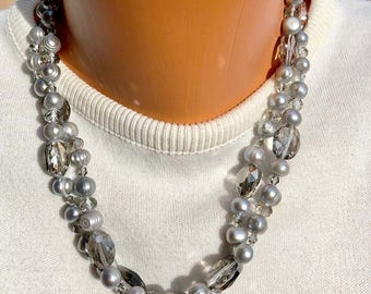 Pearl Necklace-Gray Pearls-Smoky Crystal-Two-strand Necklace Vintage-Art Deco Pearl Necklace Extension Chain Sterling Catch