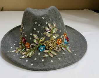 Gray Emblished Hat