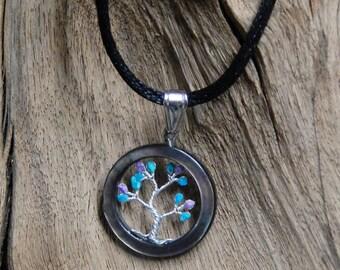 Abalone + Turquoise, Sugilite, genuine gems, Tree of Life, handmade