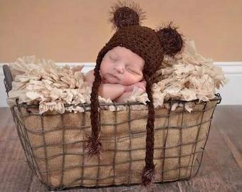 Fuzzy Bear Hat Sale/Baby/ Photo Prop/Elves/Crochet/Knit/Bear/Fuzzy