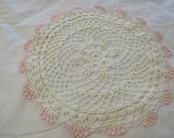 Vintage Pink White Crochet Doily