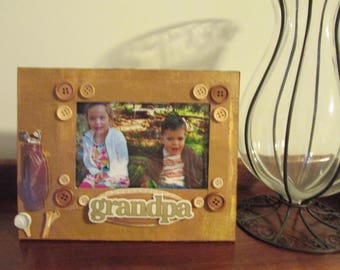 4x6 Grandpa Themed - Hand Decorated Picture Frame