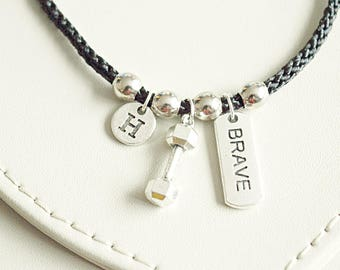 Boyfriend gift, Gym bracelets, Dumbbell bracelet, Best friend gift, Dumbbell charm bracelet, Brave  bracelet, Brave Gift, Fitness, Muscle,