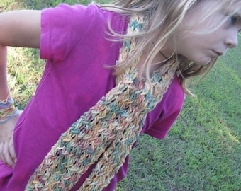 Hand-dyed Hand-Knit Merino Wool Scarf in muted colors - by Happy Campers of the South (SCRF023)