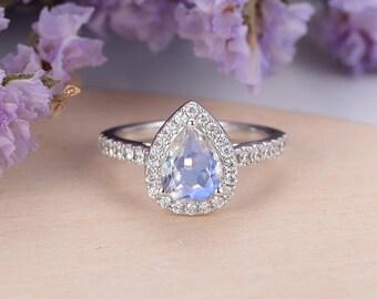 Moonstone Engagement Ring vintage Pear shaped Milgrain 14k Gold Moissanite Wedding Half eternity Jewelry Anniversary Gift for Women