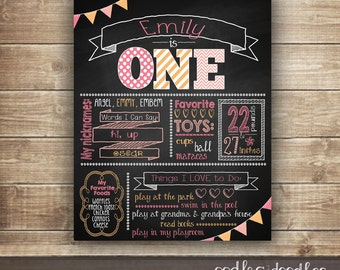 1st Birthday Chalkboard Poster,  Girl's First Birthday, Birthday Milestone Poster, Birthday Photo Prop, Printable Digital File or Printed