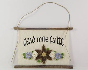 Cead Mile Failte, Irish Gaelic Welcome, Paper Quilled Welcome Sign, 3D Quilled Banner, Brown White Blue Decor, Ireland Gift, Rustic Art