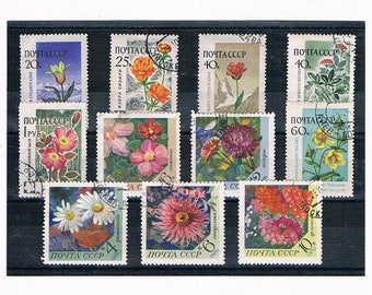Vintage Flower Stamps from Russia | garden flowers, wildflowers, floral postage stamp selection | card craft papercraft philately collection