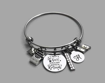 Teacher Charm Bracelet, Teacher Charm Bangle, It Takes A Big Heart To Help Shape Little Minds, Teacher Bracelet, Teacher Jewelry, Gift
