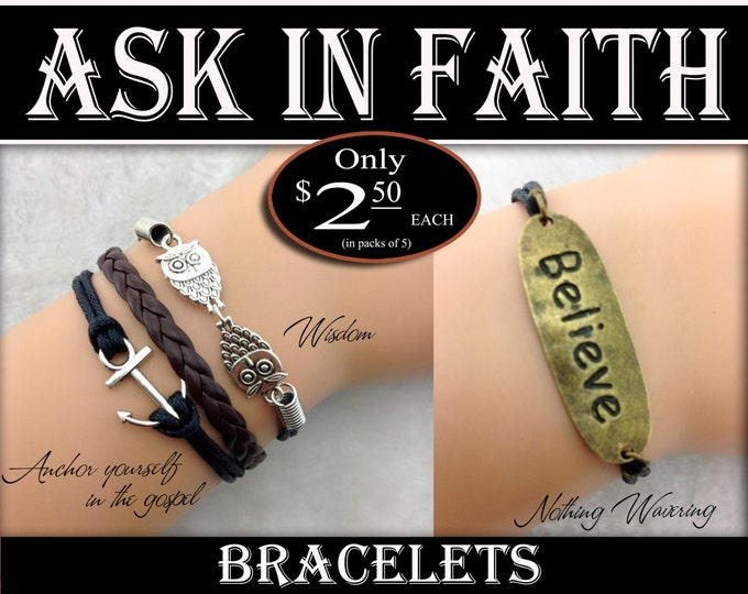 Custom Order -Quick- 50 Bracelets - YW Ask of God Ask in Faith Bracelets all brown cords